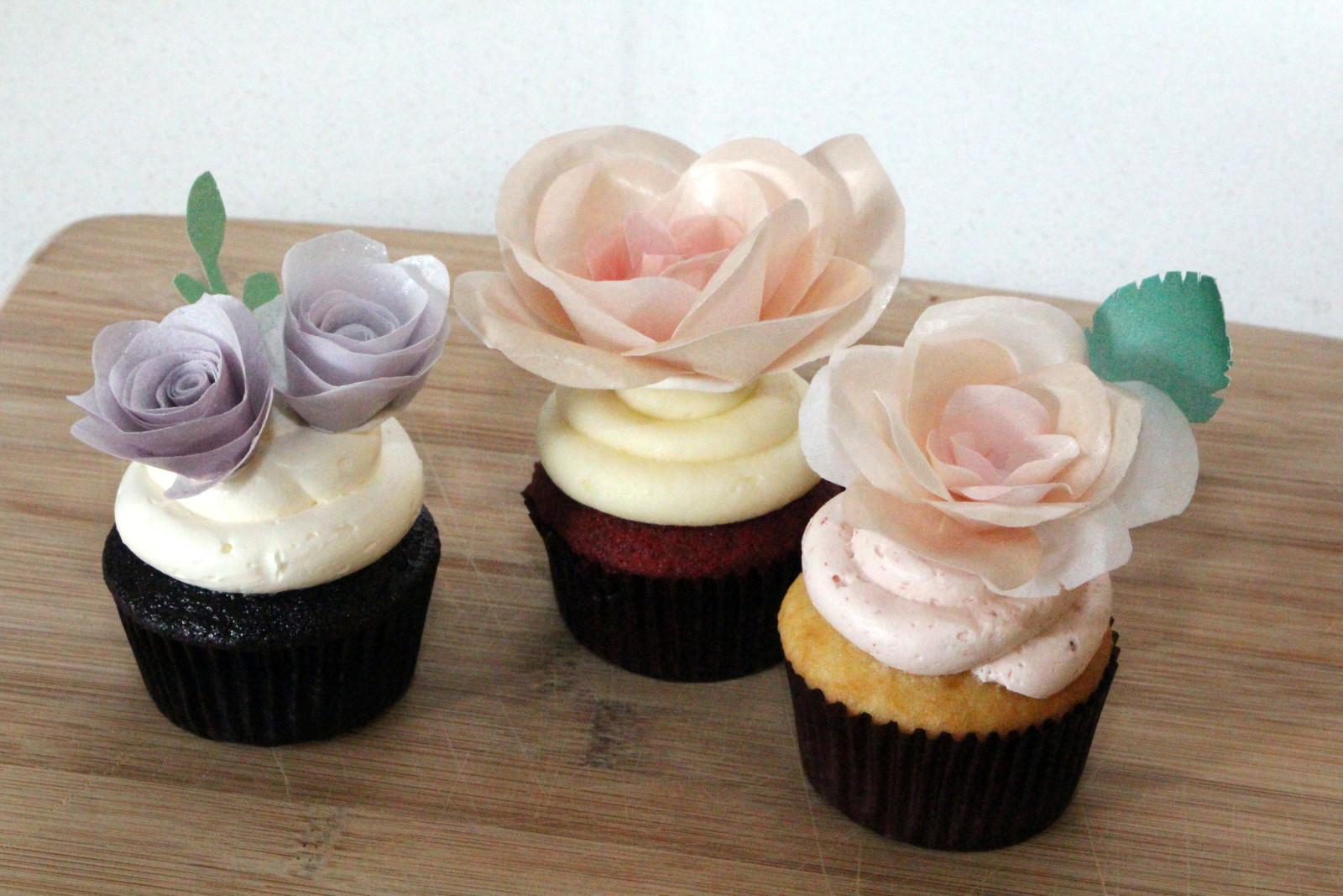 Wafer paper flower cupcakes milos bonbons mightylinksfo